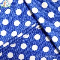 厂家直销20%氨纶80%锦纶针织布比基尼面料蓝底白色圆点印花